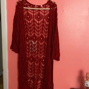 Red Lace Duster or Coverup